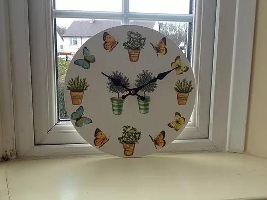 Butterflies and Herbs Clock